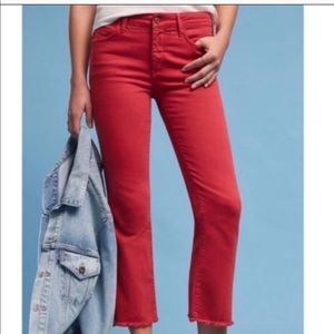 Anthropologie Pilcro Red Cropped Frayed Pants